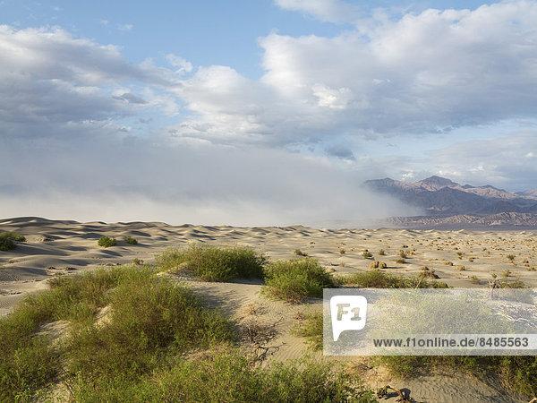 Mesquite Flat Sand Dunes  Sandd¸nen  Sandsturm ¸ber den Grapevine Mountains hinten  Death Valley  Death-Valley-Nationalpark  Kalifornien  USA