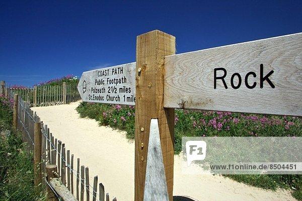 Wegweiser nach Rock  Cornwall