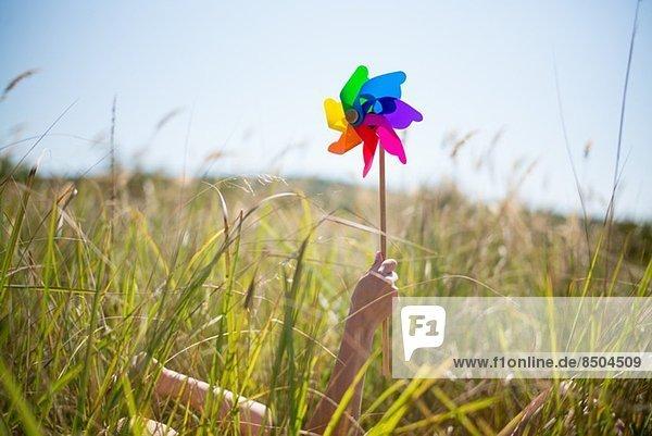 Frau im langen Gras liegend  Windmühle haltend Frau im langen Gras liegend, Windmühle haltend