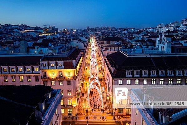 Lissabon  Hauptstadt  Europa  Beleuchtung  Licht  Weihnachten  Augusta  Portugal