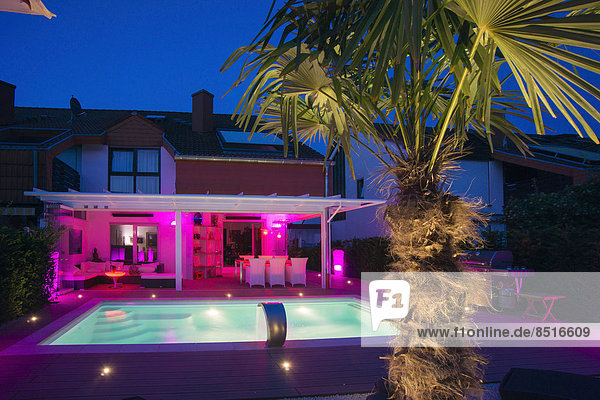 Private terraced house with a conservatory  a pool  a terrace and a palm tree with display lighting at night  Germany