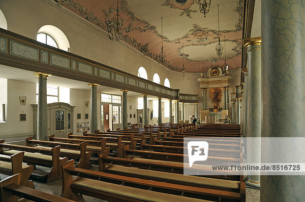 Interior of the Schlosskirche palace church  Bayreuth rococo  1753-1758  Bayreuth  Bavaria  Germany