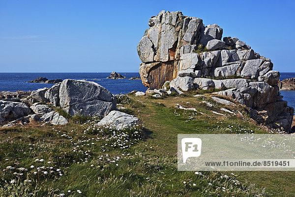 France  Bretagne  Plougrescant  Rock formations at the coast