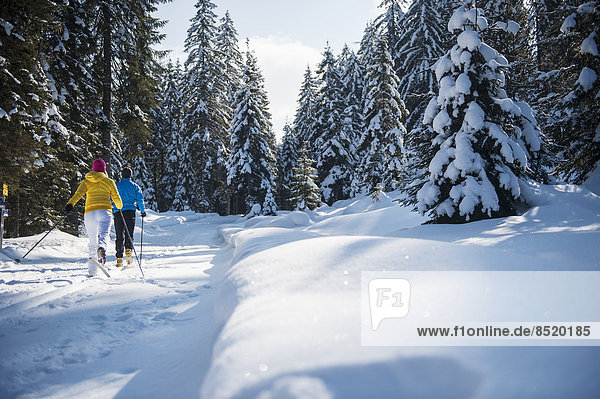 Austria  Salzburg Country  Altenmarkt-Zauchensee  Young couple cross-country skiing