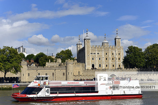Ausflugsboot auf der Themse  hinten der Tower  London  England  Großbritannien
