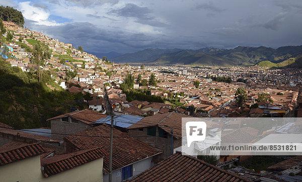 Stadt Tourist Geschichte Draufsicht Cuzco Cusco Peru