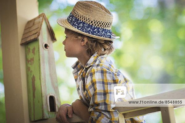Ein Kind untersucht einen Wanzenkasten auf einer Veranda. Ein Kind untersucht einen Wanzenkasten auf einer Veranda.
