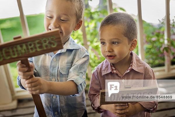 Zwei Jungen machen Schilder für neu gepflanztes Gemüsesaatgut.