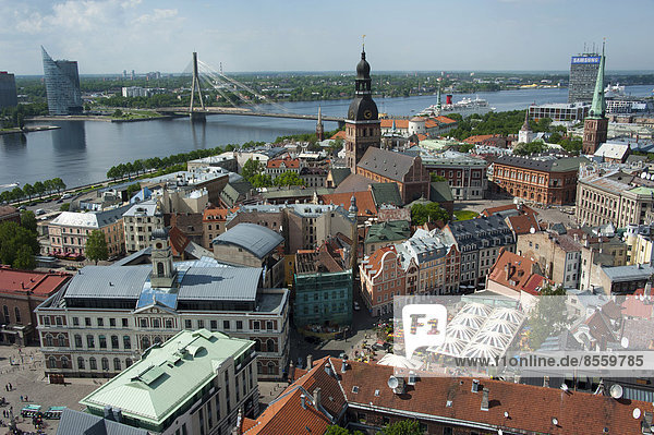 View from St. Peter's Church  Riga  Latvia  Baltic States