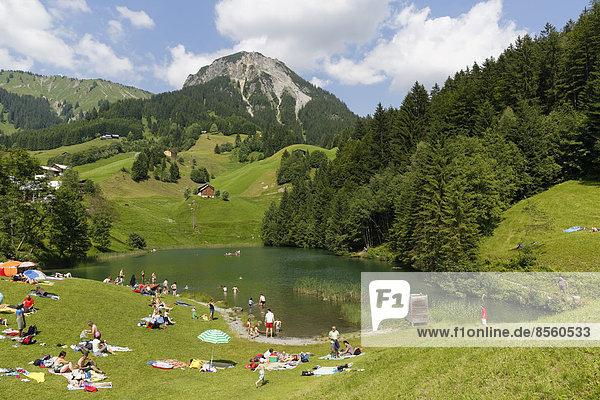 Seewaldsee lake near Fontanella  in front of Blasenka Mountain  Großes Walsertal Biosphere Reserve  Vorarlberg  Austria