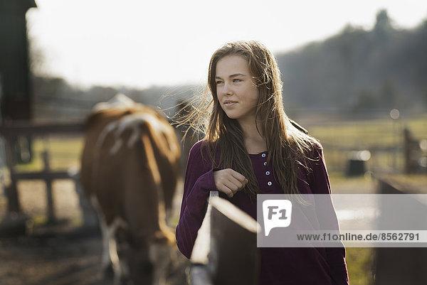 Ein Mädchen  das sich an einen Koppelzaun lehnt  und ein grasendes Pferd im Hintergrund  auf einem Biohof.