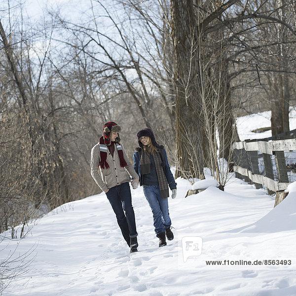 Winterlandschaft mit Schnee auf dem Boden. Ein Paar geht Hand in Hand einen Weg entlang.