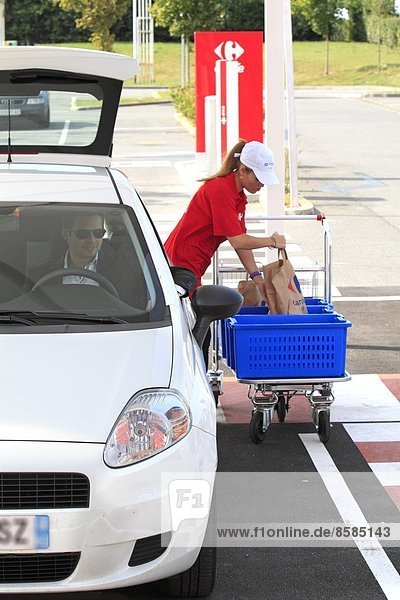 France  Drive-through in Carrefour supermarket.