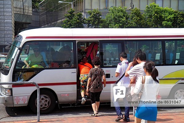 einsteigen Frau Mann Omnibus China Reihe Hongkong Linie