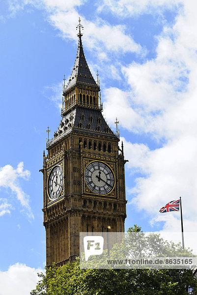 Elizabeth Tower oder Big Ben  Palast von Westminster  Unesco Weltkulturerbe  City of London  London Region  England  Großbritannien