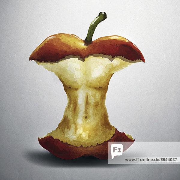 Darstellung des Apfelkerns mit menschlichem Torso,  Nahaufnahme, Darstellung des Apfelkerns mit menschlichem Torso,  Nahaufnahme