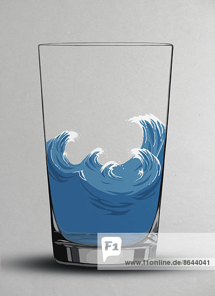 Darstellung von Kabbelwellen in einem Wasserglas