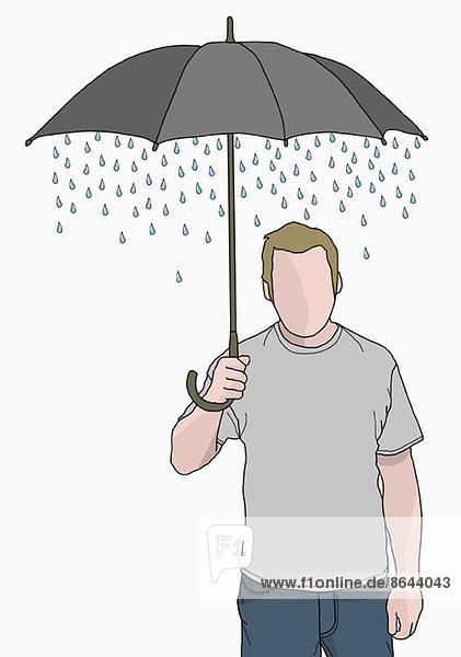 Illustration eines Mannes mit Regenschirm  aus dem der Regen kommt.