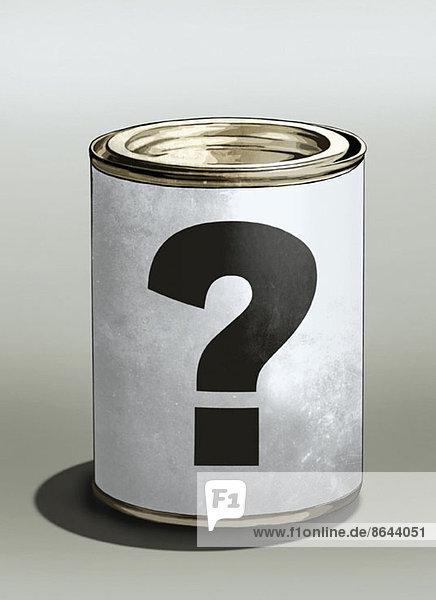 Fragezeichen auf Blechdose