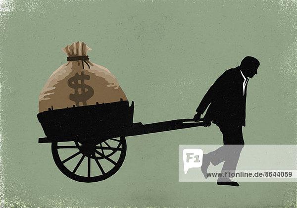 Abbildung eines Geschäftsmannes mit Dollartasche im Wagen