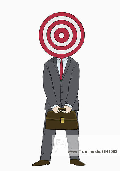 Abbildung eines Geschäftsmannes mit Ziel vor dem Kopf