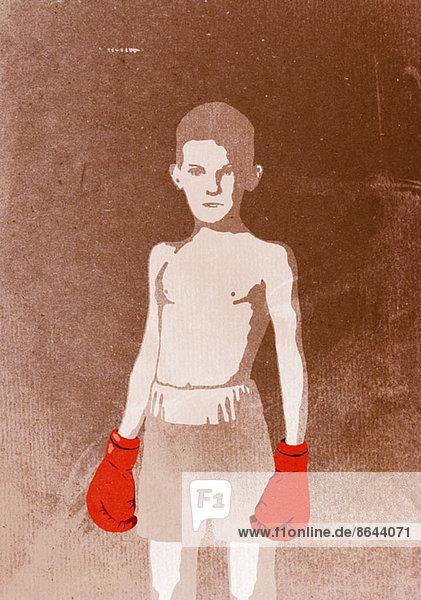 Abbildung eines Jungen mit Boxhandschuhen,  Portrait, Abbildung eines Jungen mit Boxhandschuhen,  Portrait