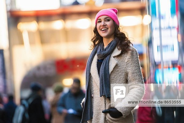 Young female tourist exploring streets  New York City  USA
