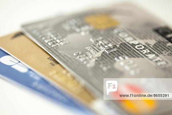 Nahaufnahme von Kreditkarten