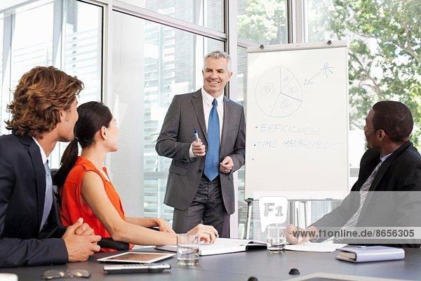 Büroleiterin mit Flipchart-Präsentation bei der Besprechung