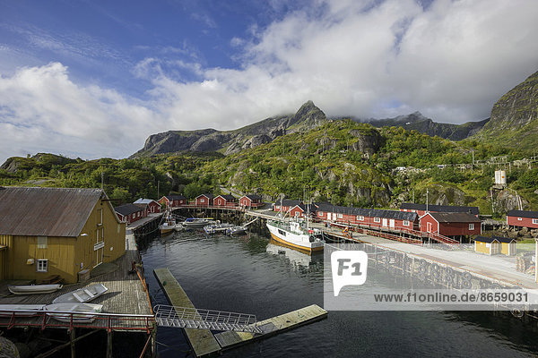 Hafen  Nusfjord  Lofoten  Nordland  Norwegen