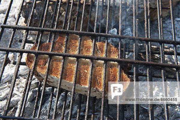 Lagerfeuer  Brot  Scheibe  Namibia  getoastet