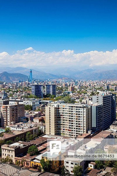 Chile  Santiago  elevated city view towards the Gran Torre Santiago tower.