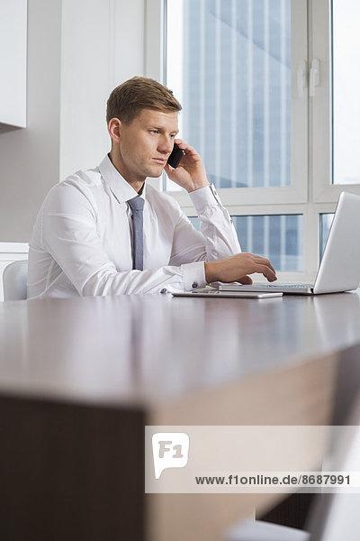 Interior  zu Hause  benutzen  Notebook  Geschäftsmann  Mittelpunkt  Gespräch  Gespräche  Unterhaltung  Unterhaltungen  Erwachsener