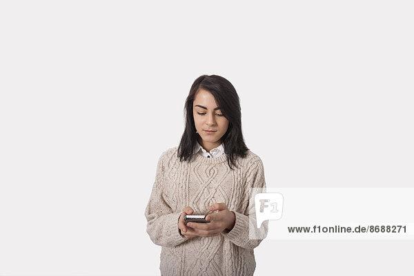 Geschäftsfrau grau Text Hintergrund Kurznachricht Smartphone