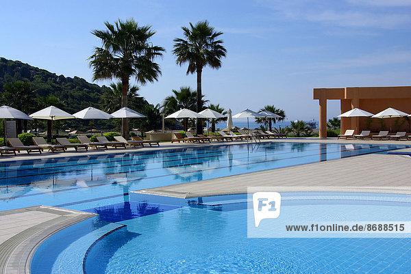 Strand Hotel Ansicht Schwimmbad Mittelmeer