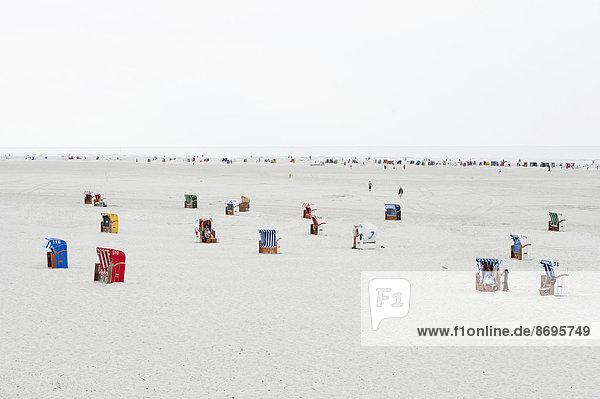 Strandkörbe am Strand  Nebel  Amrum  Nordfriesische Inseln  Schleswig-Holstein  Deutschland