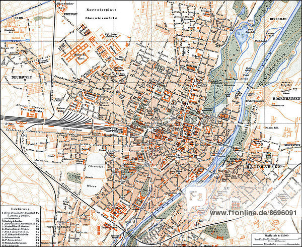 Historical map  1896  Munich  Germany