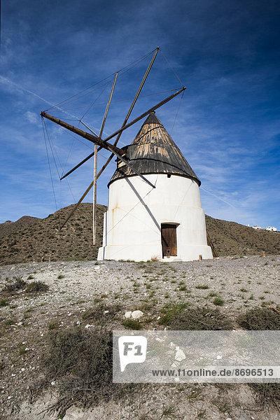 Andalusian windmill  Cabo de Gata-Níjar Natural Park  Andalusia  Spain