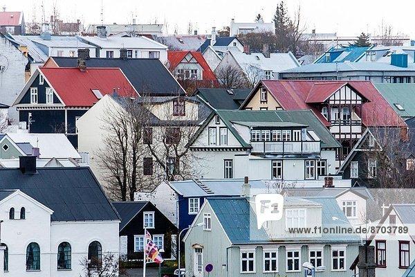 Reykjavik  Hauptstadt  Straße  Stadt  Großstadt  Ansicht  Luftbild  Fernsehantenne  Island  alt