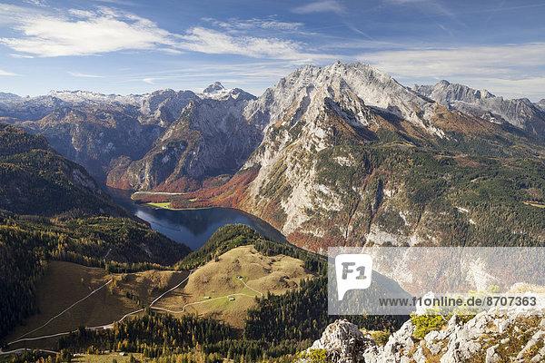 Ausblick vom Jenner auf den Königssee und den Watzmann  Nationalpark Berchtesgaden  Berchtesgadener Alpen  Berchtesgadener Land  Oberbayern  Bayern  Deutschland