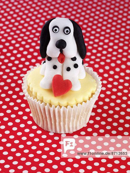 gelb  halten  Hund  weiß  Eis  schwarz  Dekoration  rot  herzförmig  Herz  cupcake