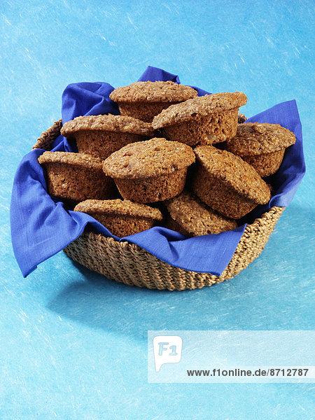 Korb  blau  Muffin  Bran  Törzburg  voll