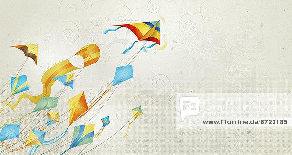 Viele bunte Drachen fliegen am Himmel Viele bunte Drachen fliegen am Himmel