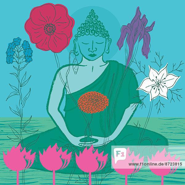 Buddha umgeben von Blumen