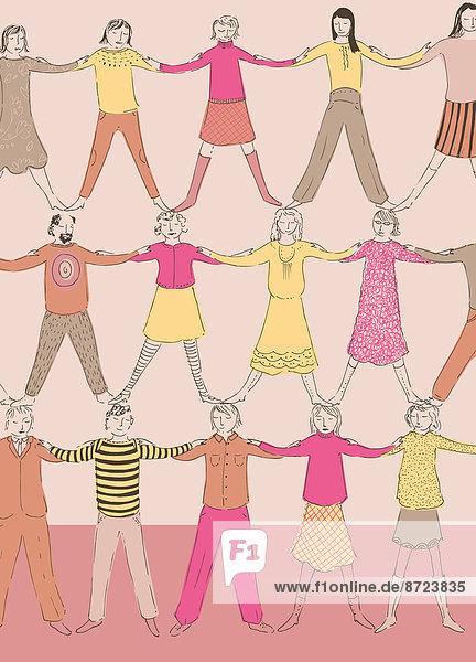 Menschen bilden gemeinsam eine menschliche Pyramide Menschen bilden gemeinsam eine menschliche Pyramide