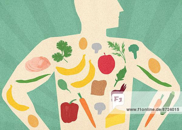 Auswahl von gesunden Lebensmitteln in dem Körper eines Mannes