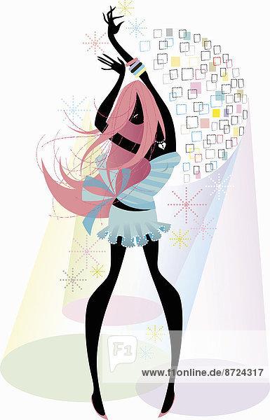 Sorgenlose Frau tanzt