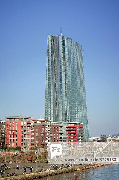 Eurotower der neuen EZB,  Frankfurt am Main,  Hessen,  Deutschland,  Europa
