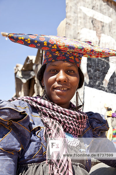 Herero woman with typical headdress  Namibia