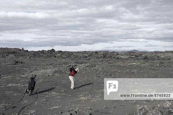Mann  Spiel  Lava  Feld  Golfsport  Golf  Island